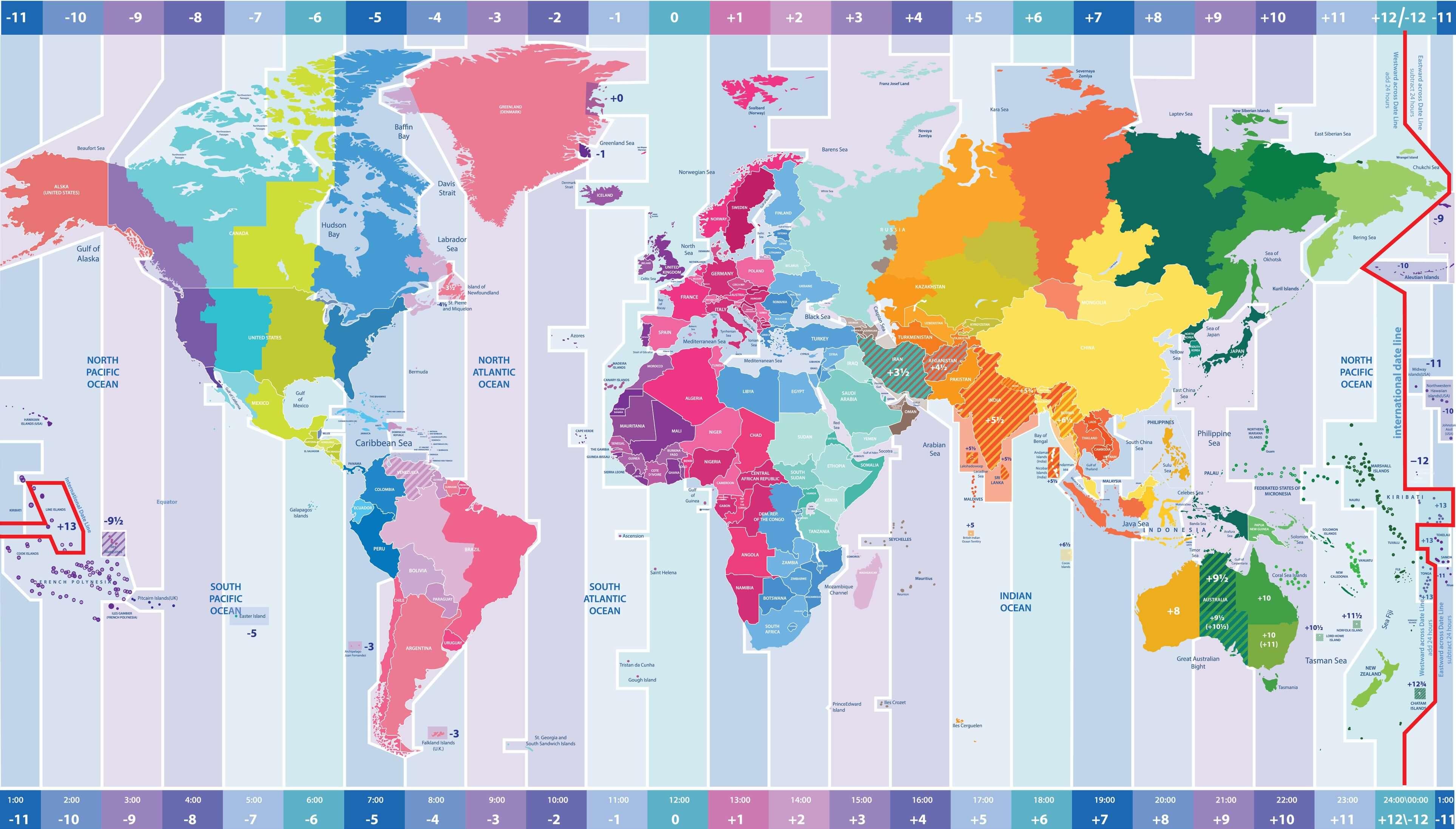Carte des fuseaux horaires du 'monde